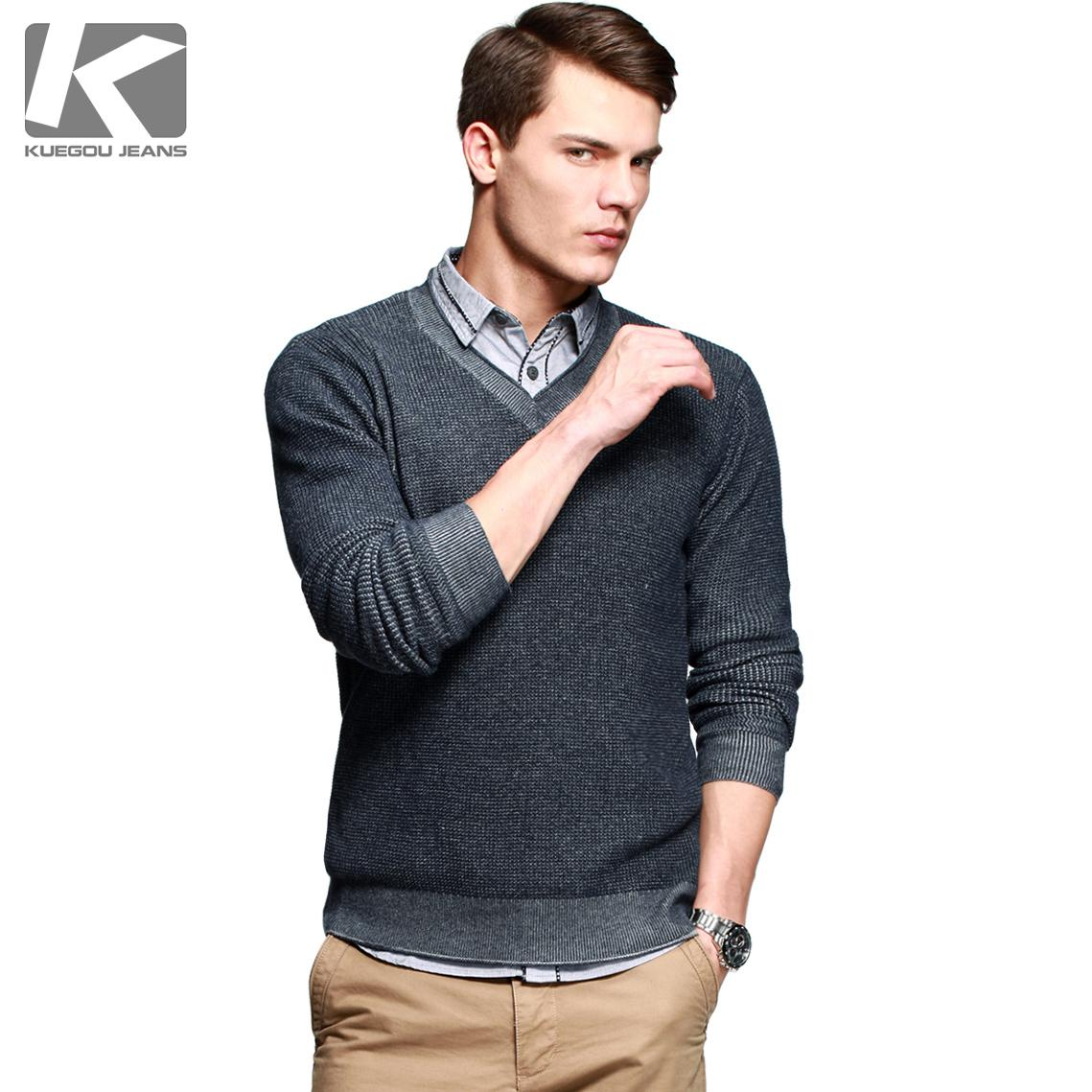 2018 Kuegou Fashion Men's Winter Sweater Thin Sweater Comfortable ...