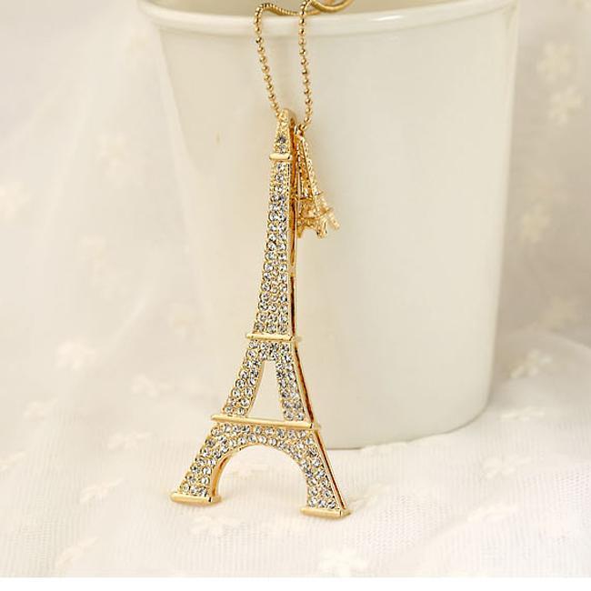 540c855d0 Whole Paris Necklace Eiffel Tower Gold Charm Diamonds. 14k Gold Eiffel  Tower Charm Vintage Estate