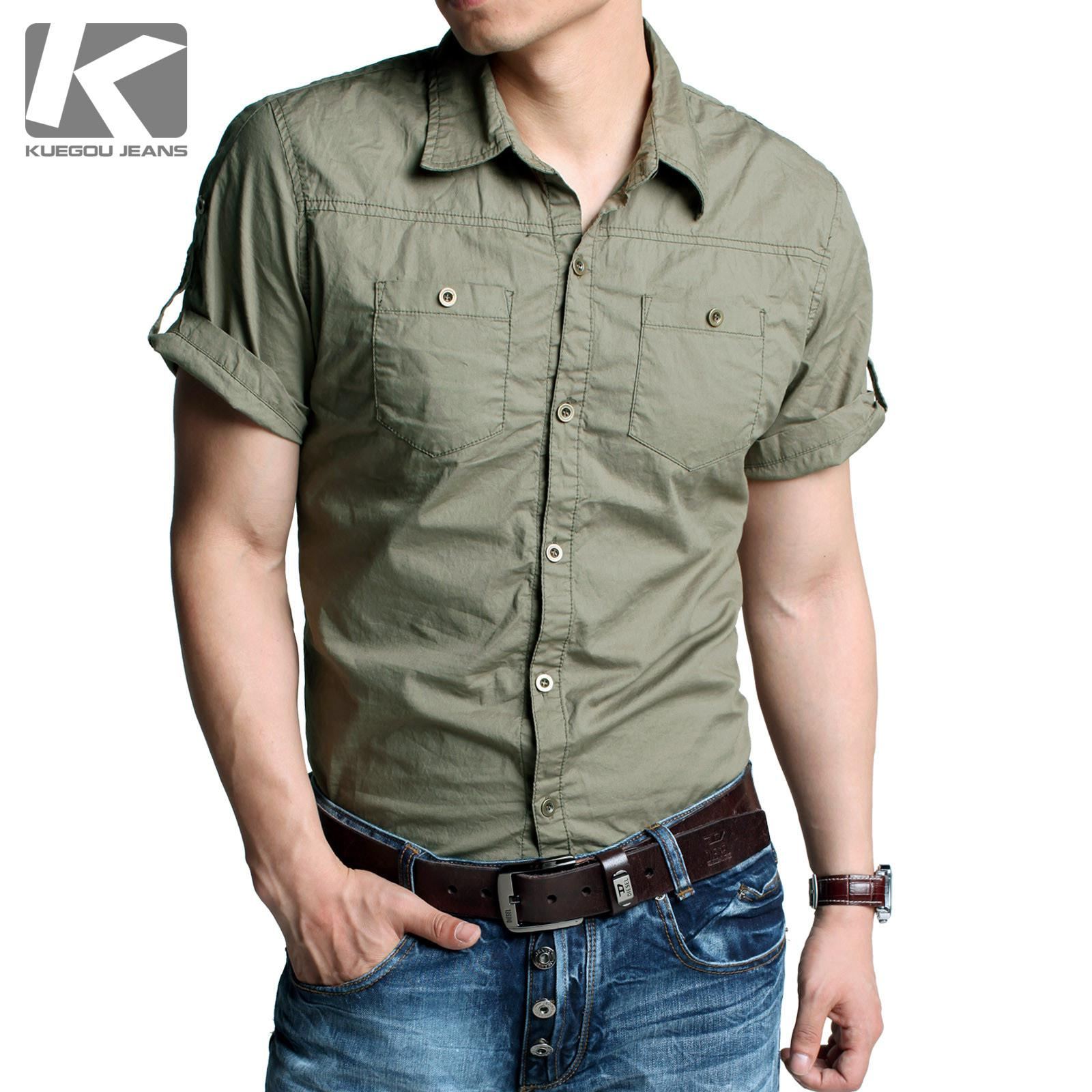 2017 Kuegou Men's Shirts Short Sleeve Uniform Shirt Slim Men 's ...