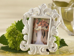 Wholesale Cheap Wedding Photo Frames - Cheap wholesale White Baroque photo frame 100PCS LOT wedding place card holder Free shipping picture frames