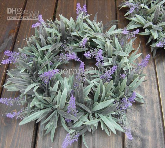 "Plastic Lavender Hoop Dia 28cm/11.02"" Artificial Simulation Flower Plastic Plants Tufting Lavender Wreath Bridesmaids Bride Flowers"