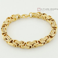 Wholesale Byzantine Steel Chain - 2013 New 18K Gold Plated GP Stainless Steel Byzantine Chain Bracelet For MENS Jewelry Fashion,Gift Wholesale Free shipping,WB247