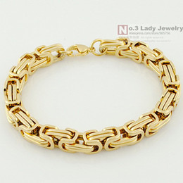 Wholesale Gps Fashion - 2013 New 18K Gold Plated GP Stainless Steel Byzantine Chain Bracelet For MENS Jewelry Fashion,Gift Wholesale Free shipping,WB247