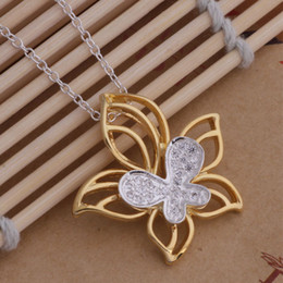 Discount roses butterflies - Top quality 925 silver plated rose gold Butterfly Flower Pendant Necklace Fashion Jewelry Christmas party gift free ship