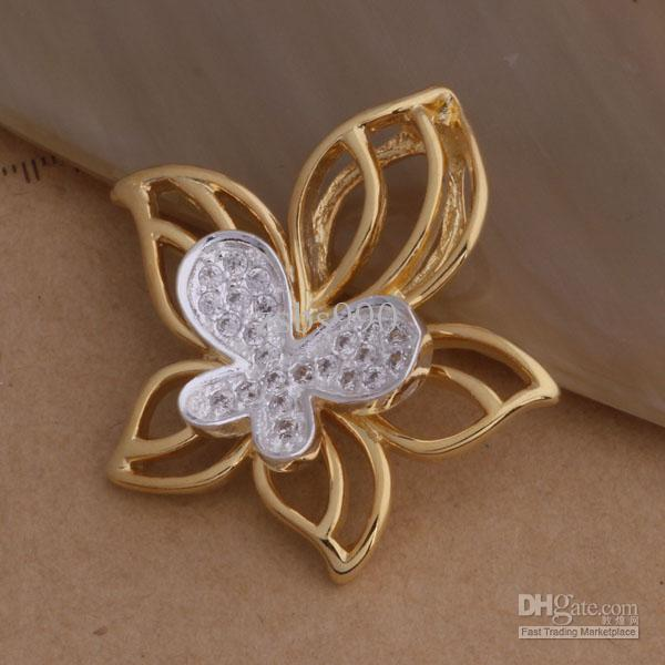 De calidad superior 925 chapado en plata de oro rosa Flor de Mariposa Collar Colgante de Joyería de Moda regalo de la fiesta de Navidad envío libre 10 unids / lote