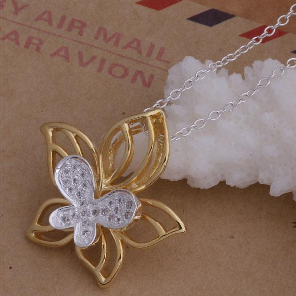 Top quality 925 silver plated rose gold Butterfly Flower Pendant Necklace Fashion Jewelry Christmas party gift