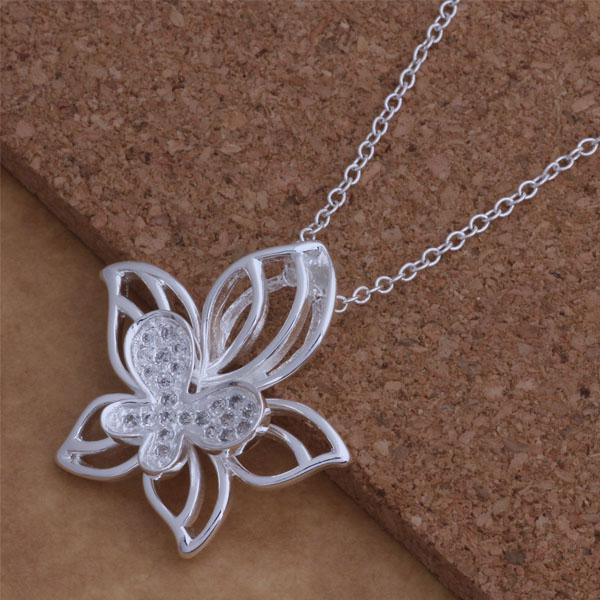 Rhinestoneschmetterlingsblume hängende Halskette 925 Silber überzog Spitzenqualitätsart und weiseschmucksachen für Frauen Weihnachtsgeschenk freies Verschiffen /