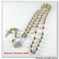 freie katholische rosenkränze großhandel-Katholische Rosenkranz-Halsketten-Schmucksachen der Art- und WeiseEdelstahl-Männer, 31.5