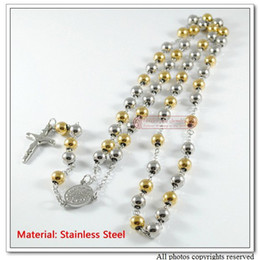 "Wholesale catholic rosary beads - Fashion Stainless Steel Mens Catholic Rosary Necklace Jewelry, 31.5"" Long, Silver&Gold Beads,Wholesale Free Shipping WN089"