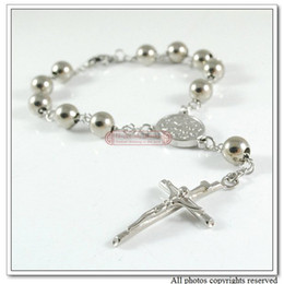 """bretelles noires Promotion 7.4 """"en acier inoxydable Rosaire Croix Bracelet bijoux de mode religieuse, catholique, ton argent, livraison en gros sans WB225"""