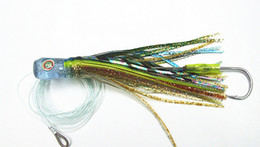 Wholesale Game Fishing Skirts - 6 inch Octopus Skirt Bait Fishing Lure Fishing Tackle Game Lures Tuna lures Sea Trolling Fishing Lure soft head with Hook and Line