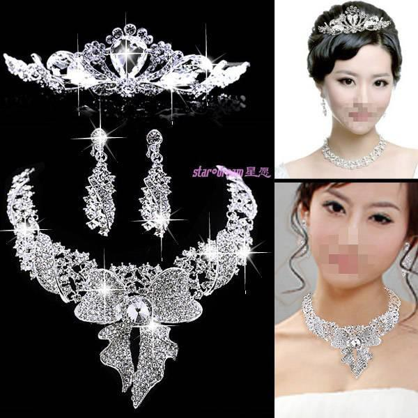 Wholesale Bridal Jewelry Three Crystal Flower Crown Jewel Bow Ear Clip Earrings And Necklace Set C103