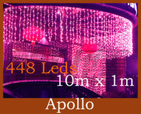 Wholesale Curtains Best Wedding Decoration - Best Sales LED Curtain Lights String 10m * 1m 448 leds Backdrop Christmas Party Wedding Holiday Decoration Xmas Fairy Lights