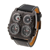 Wholesale Watch Stainless Steel Compass - New Oulm Sport Watch Fashion Dual Time Zone Analog Black Leather PU Band Mens Man's Compass Thermometer Wristwatch Wrist Watches Quartz Man