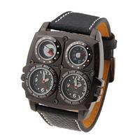 Wholesale Oulm Quartz - New Oulm Sport Watch Fashion Dual Time Zone Analog Black Leather PU Band Mens Man's Compass Thermometer Wristwatch Wrist Watches Quartz Man