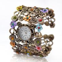 relógio de contas de quartzo venda por atacado-Lady Beads Wrap Flor Dial Pulseira De Couro Pulseira De Quartzo Relógio De Pulso Liga Liga Horas Analógicas Horas Pulso Mulheres Menina Relógios Moda Estilo