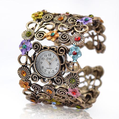 Lady Beads Wrap Flower Dial Leather Bangle Bracelet Quartz Wristwatch Watch Alloy Analog Hours Times Wrist Women Girl Watches Fashion Style