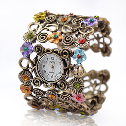 Wholesale Multiple Time Zone Watches - Lady Beads Wrap Flower Dial Leather Bangle Bracelet Quartz Wristwatch Watch Alloy Analog Hours Times Wrist Women Girl Watches Fashion Style