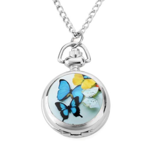 Mariposa colorida Collar de Las Mujeres Reloj Caja Abierta Redonda Colgante de Cuarzo Medallón Colgante de Cuarzo Reloj de Bolsillo Collar de Cadena Vintage Butterfly