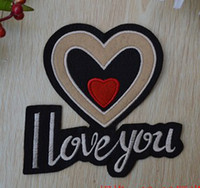 Wholesale Large Iron Patches - Wholesales 10 Pieces~Large Size Double Heart I Love You Badge (13 x 13cm) Embroidered Iron On Applique Patch (ALG)