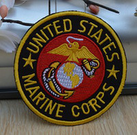 Wholesale Marine Badge - Wholeslaes 10 Pieces~United States Marine Corps Badge (7 x 7cm) Embroidered Iron On Applique Patch (ALG)