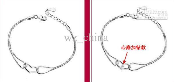 Heart Bracelets for Women Love Charms Hand Jewelry CZ Diamond Zirconia 30% 925 Sterling Silver Bangle Bracelet