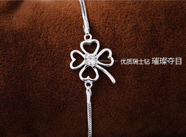 MXZA Four Leaf Clover Bracelet Women Ladies Hand Jewelry CZ Diamond 925 Sterling Silver Bangle Bracelets