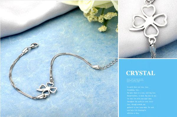 Mxza fyra bladklöver armband kvinnor damer hand smycken cz diamant 925 sterling silver armband armband