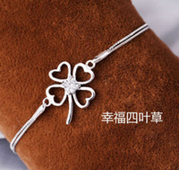 Wholesale Sterling Silver Ladies Bangles - MXZA New Four Leaf Clover Bracelet Luxury Women Ladies Hand Jewelry CZ Diamond 925 Sterling Silver Bangle Bracelet Freeshipping