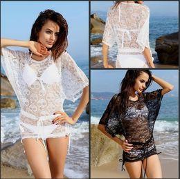 Wholesale Skull Shirt Dress - Sexy Skull Batwing Sleeve Hollow Beachwear Swimwear Bikini Cover Up Shirt Dress