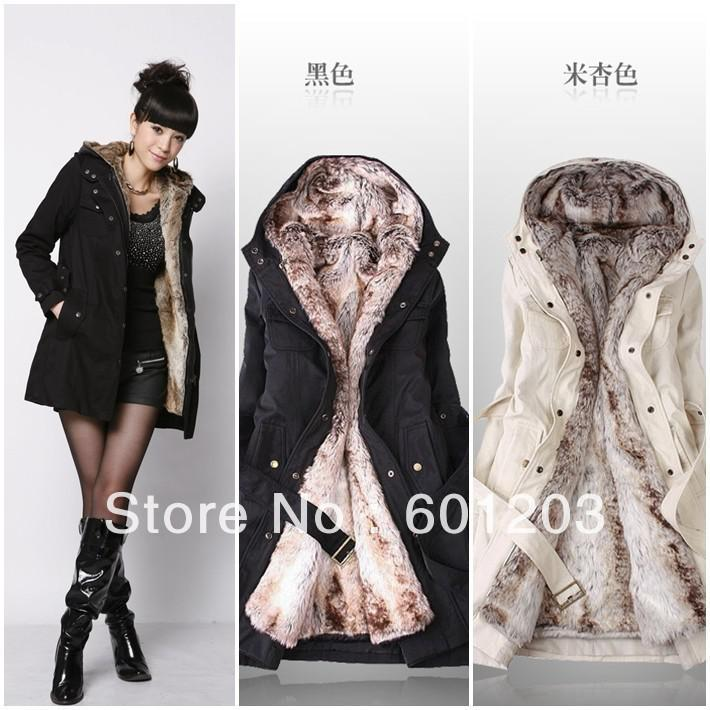 2018 Trench Coat New Fashion Faux Fur Lining Women's Fur Hoodies ...