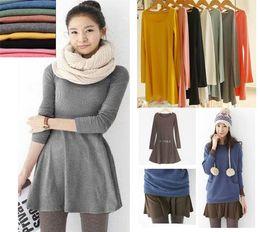 Wholesale Wholesale Basic Black Long Sleeve - Fashion 2016 Europe and America Elegant Ladies Autumn Basic Dresses Korean Novelty Women Solid Color Long Sleeve Dress 10 Colors G0271