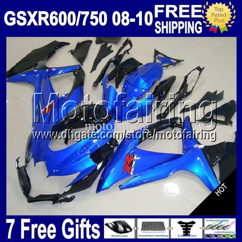7GiftsForSUZUKI K8 HEISS GSX R600 GSXR-600 08 09 10 Blau schwarz R750 MF4A15 GSXR750 GSXR600 GSXR 600 750 2008 Glanz blau 2009 2010 Verkleidung