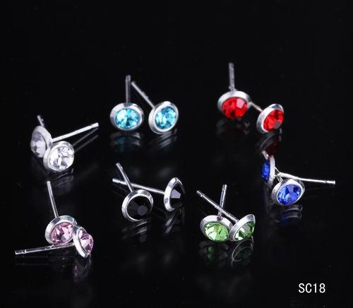 Fashion Jewelry Box Circle Ear Studs 925 Silver Plating Crystal Earrings Colorful with Rubber Stopper SC18*10