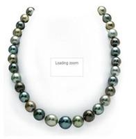 joyas de mar verde al por mayor-Nueva joyería de perlas auténticas preciosas 10-12mm south sea negro verde rojo MUlticolor collar de perlas 20 pulgadas 14KG