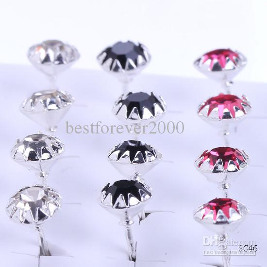 Box Multi-color Bright Ear Studs 925 Silver Plating Crystal Earrings Colorful with Rubber Stopper SC46*10