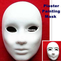 Wholesale Mask Paper For Hands - Wholesale Hand-painted Pulp Plaster Covered Paper Mache Blank Mask Female Male Mask with Elastic 20pcs Lot