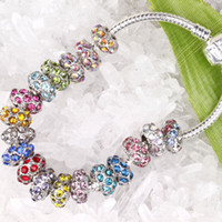 Wholesale Silver Tone Metal Charms - Finding - 100pcs Silver Tone Mixed Color Crystal European Bead Fit Charm Bracelet