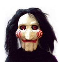 Wholesale Scary Saw Masks - Saw Movie Jigsaw Puppet Mask Halloween Full Mask Head Latex Creepy Scary