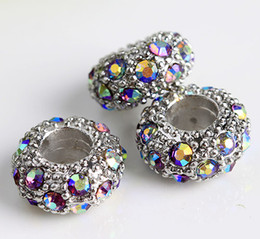 Wholesale Silver Tone Metal Charms Wholesale - Finding - 100pcs Silver Tone Crystal AB European Spacer Bead Fit Charm Bracelet