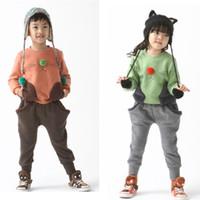 Wholesale Track Pants Children - Wholesale - Boys Tracking suit girl's hoodies outfit Children thicker fleece cat suit coat pant -CDM62H