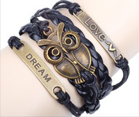 Wholesale Men Cuff Links Animal - NEW infinity Love Bronze Cute Owl Dream Charm Wax Cords Leather Braided Cuff Bracelets Wrap Bangle Wristbands Jewelry for Women Men hy1000