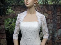 Wholesale Ivory Lace Keyhole Bolero - Free Shipping 2013 New Hot 3 4 sleeve shrug alencon lace bolero wedding jacket keyhole back white and ivory Wedding Bridal Wraps DH6671
