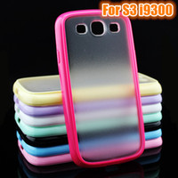 Wholesale Galaxy S3 Silicone Frame - Fast Shipping Transparent Matte PC Hard Back + TPU Soft Rubber Silicone Frame Bumper Cover Case for Samsung Galaxy S3 i9300