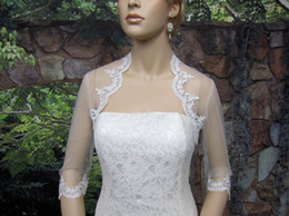 Wholesale Alencon Lace Tulle - Free Shipping 2013 New Hot 3 4 sleeve shrug alencon lace bolero wedding jacket keyhole back white and ivory Wedding Bridal Wraps DH6678