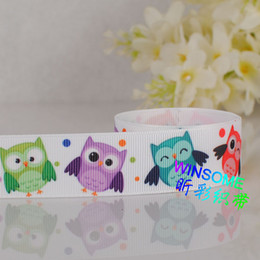 "Wholesale Owl Print Ribbon - 10yards 7 8""22mm cartoon colorful night owl cartoon gifts printed grosgrain ribbon cartoon DIY cartoon ribbon"