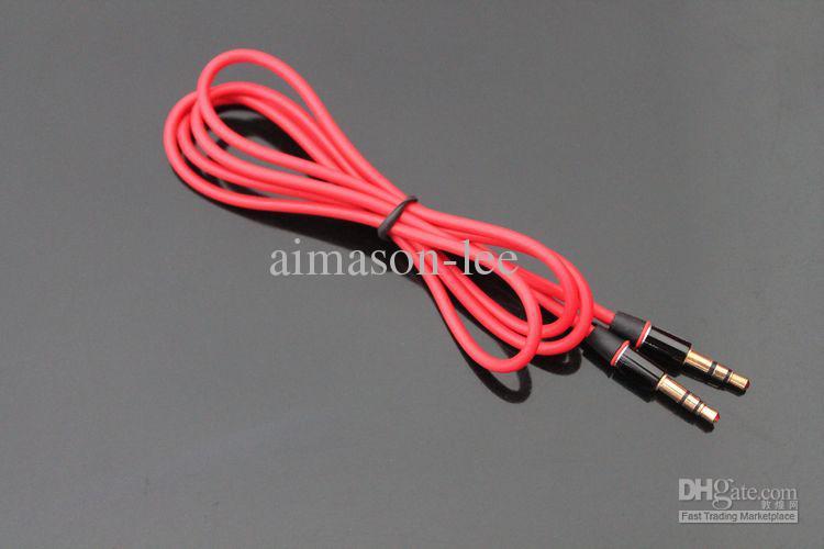 1.2m Röd Man 3.5mm AUX Audio Kabelkablar för Studio Solo Earphone Telefon via DHL 100+