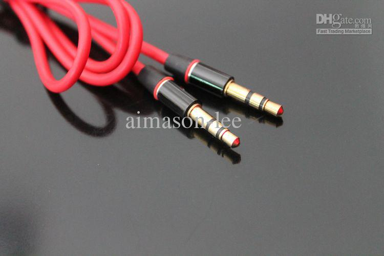 1.2m Red Male 3.5mm AUX Audio Cable Cables for studio solo Earphone phone via DHL 100+