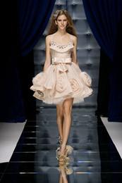 Zuhair Murad 2015 vestidos de noche cortos de la piel rosa apliques de tul de tul floral una línea de longitud de la rodilla vestidos de cóctel correas de espagueti caliente desde fabricantes