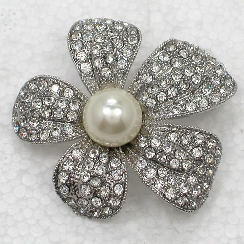 Wholesale Clear Crystal Rhinestone Faux Pearl Wedding Party prom Brooch Bridesmaid Girl Flower Pin Brooch Fashion Costume jewelry gift C529